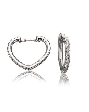 LISA NIK 18K WHITE GOLD HEART SHAPED HOOP EARRINGS WITH .16 CTS DIAMONDS