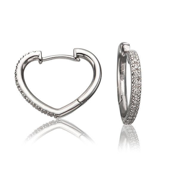 LISA NIK 18K WG HEART SHAPED HOOP EARRINGS WITH .16 CTS DIAMONDS