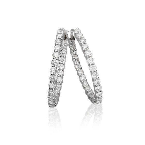 LISA NIK 18K WG OVAL HINGED HOOP WITH 1.84 CTS DIAMONDS