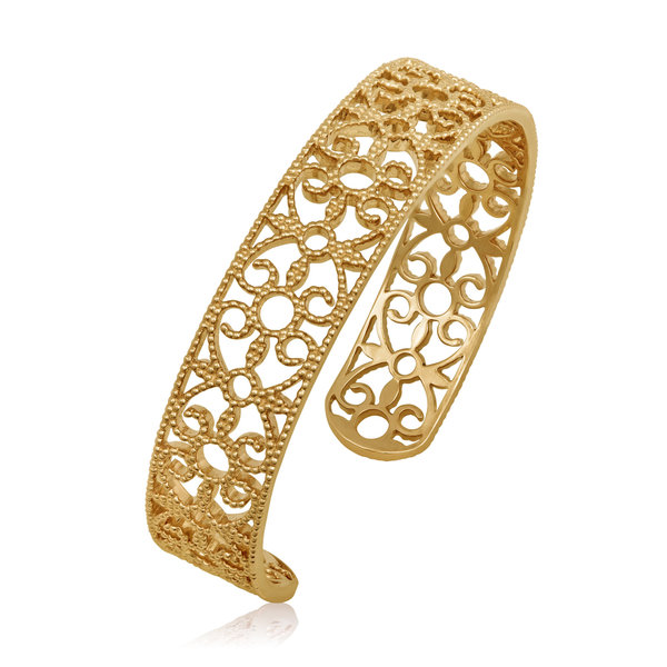 LISA NIK YELLOW GOLD VERMEIL ROUND TEXTURED CUFF
