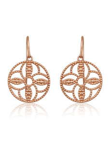 LISA NIK ROSE GOLD VERMEIL ROUND TEXTURED EARRINGS