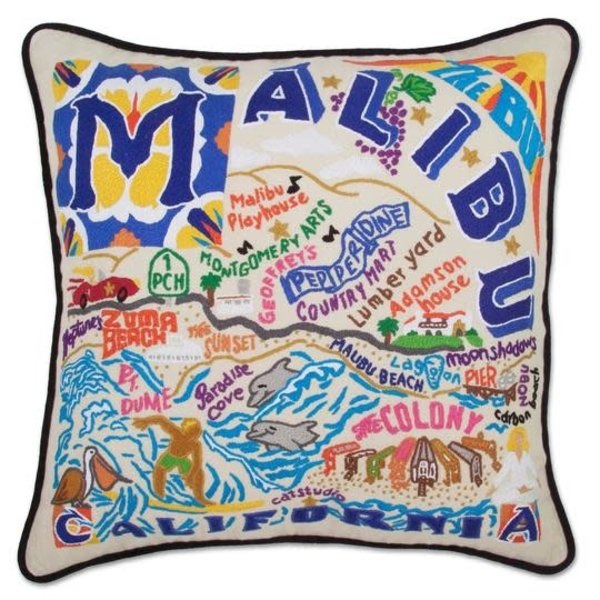 CATSTUDIO MALIBU HAND EMBROIDERED PILLOW 20X20