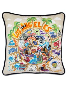 CATSTUDIO LOS ANGELES HAND EMBROIDERED PILLOW 20X20