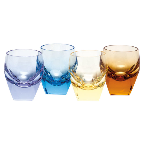 MOSER BAR SHOT GLASS 1.5 OZ. SET/4 MULTICOLOR