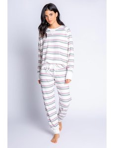 PJ SALVAGE PJ SALVAGE IVORY STRIPE JAMMIE SKI SET