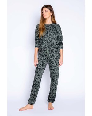 PJ SALVAGE PJ SALVAGE OLIVE LEOPARD LOUNGE SET