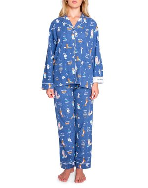 PJ SALVAGE PJ SALVAGE BLUE HANUKKAH DOG FLANNEL SET