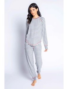 PJ SALVAGE PJ SALVAGE GREY/WHITE STRIPE LOUNGE SET