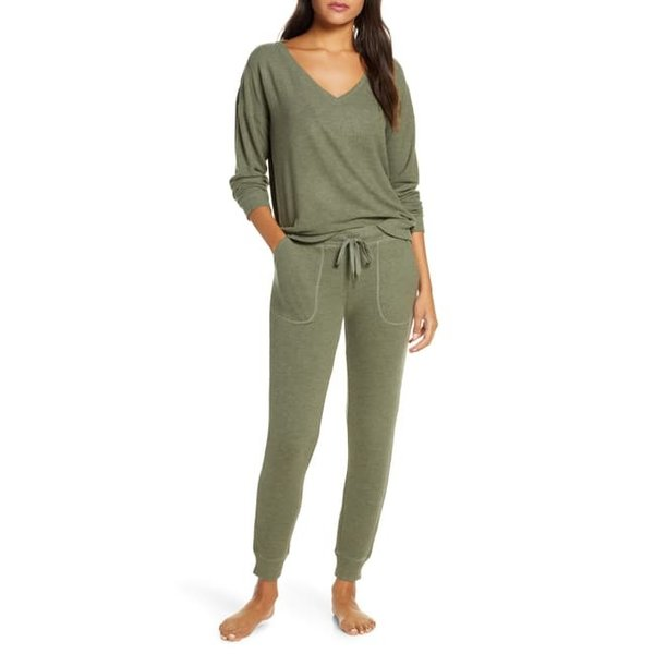 PJ SALVAGE PJ SALVAGE OLIVE LOUNGE SET