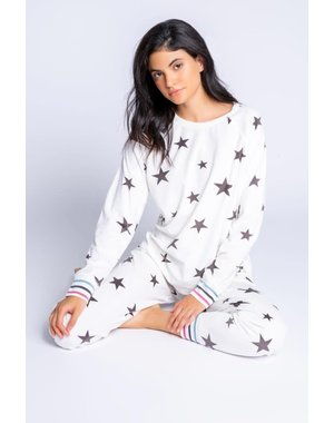 PJ SALVAGE PJ SALVAGE IVORY STAR LOUNGE SET