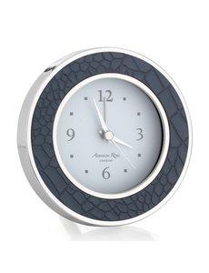 FAUX CROC BLUE & SILVER ALARM CLOCK