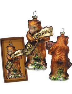CALIFORNIA BEAR HUG GLASS ORNAMENT