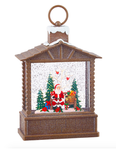 "10"" SANTA LIGHTED WATER LOG CABIN"