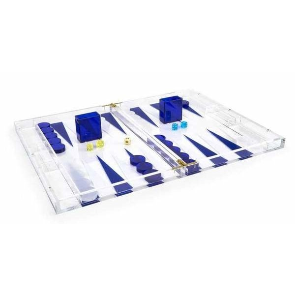TIZO BACKGAMMON SET, BLUE & CLEAR