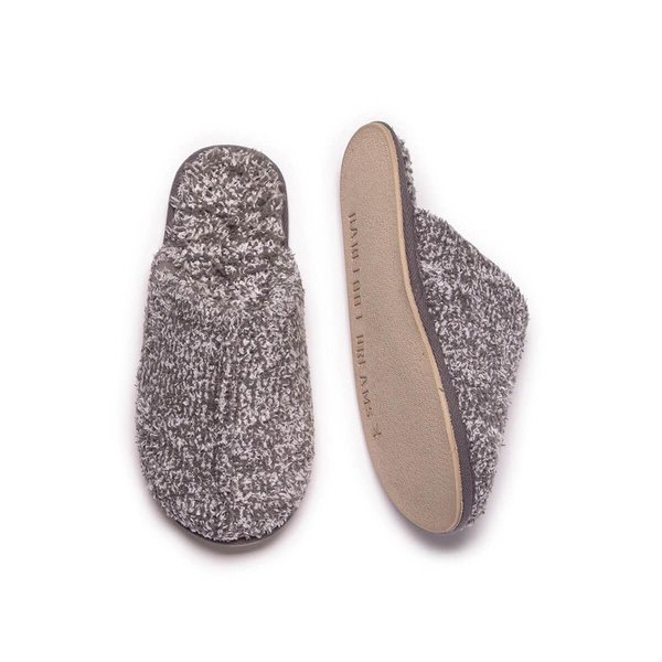 BAREFOOT DREAMS COZYCHIC MEN'S SLIPPERS HEATHERED GRAPHITE-WHITE