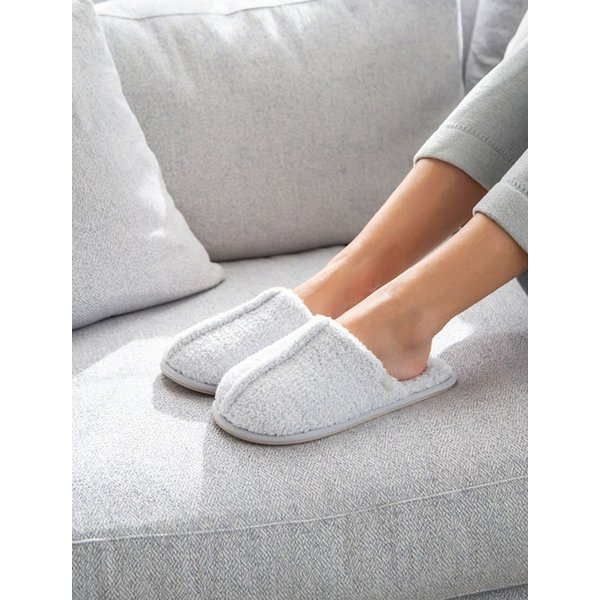 BAREFOOT DREAMS COZYCHIC WOMEN'S SLIPPERS - HEATHERED OCEAN-WHITE