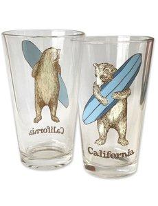 CA SURF BEAR PINT GLASS