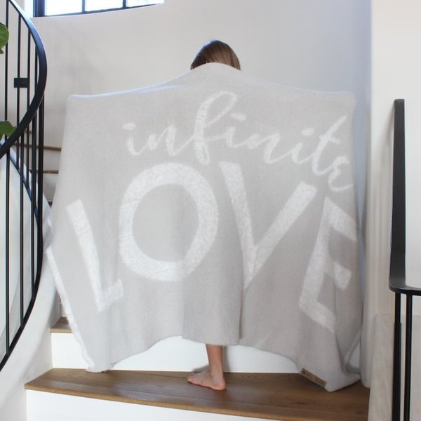 "BIG LOViE GRAY DREAM ""INFINITE LOVE"" THROW 48"" x 72"""