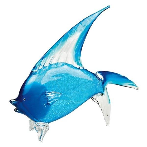 """BLUE TROPICAL FISH ART GLASS, 18"""" L x 6"""" W x 16"""" H"""