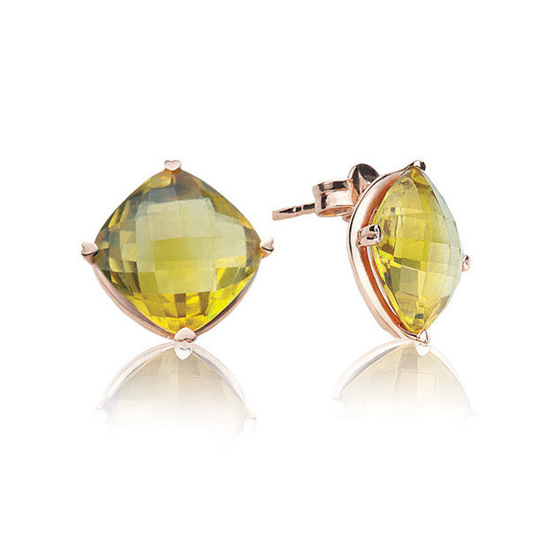 LISA NIK 18K RG 10MM CUSHION LEMON QUARTZ STUDS
