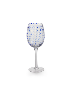 ZODAX BLUE DOT WINE GLASS