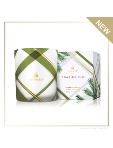 THYMES FRASIER FIR FROSTED PLAID CANDLE MEDIUM