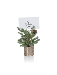 ZODAX PINE IN SILVER BUCKET PLACE CARD HOLDER