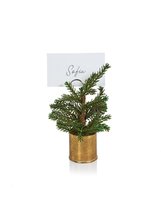 ZODAX PINE IN GOLD BUCKET PLACE CARD HOLDER