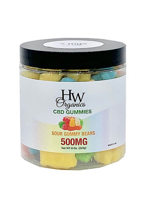 HW Organics HW Sour Gummy Bears 500 mg