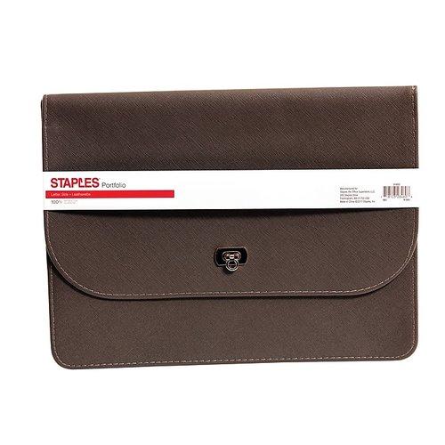 Staples Leatherette Document Case w/ Gold Closure, Dark Gray (51822)