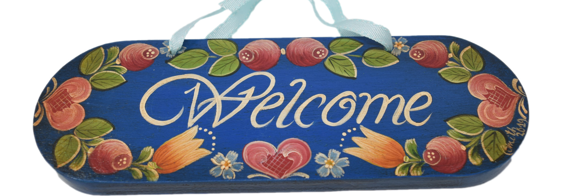 Dark Blue Welcome Door Sign