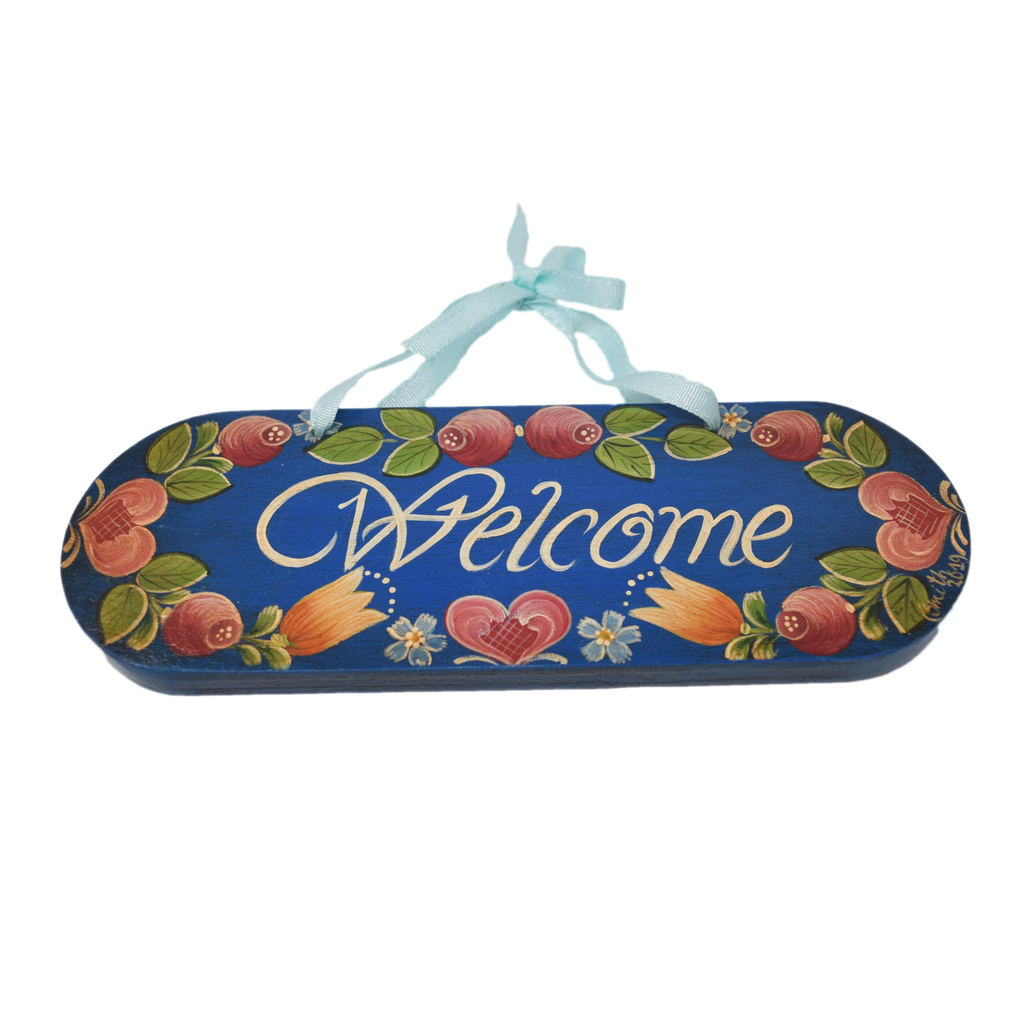Dark Blue Welcome Door Sign-1