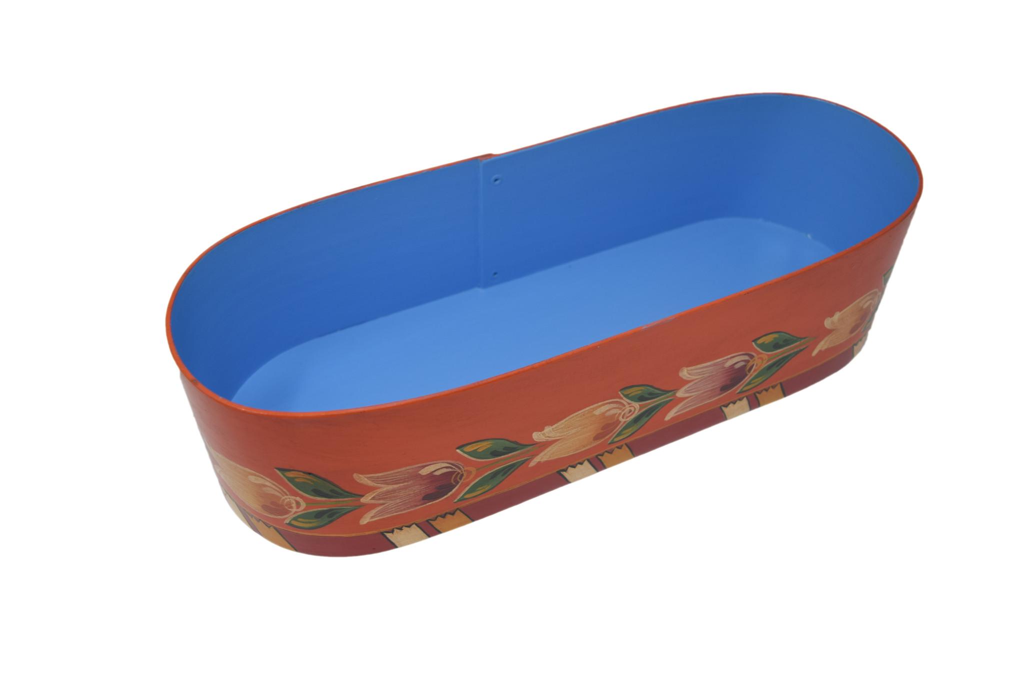 Oval Aqua/Orange Wedding Box-2