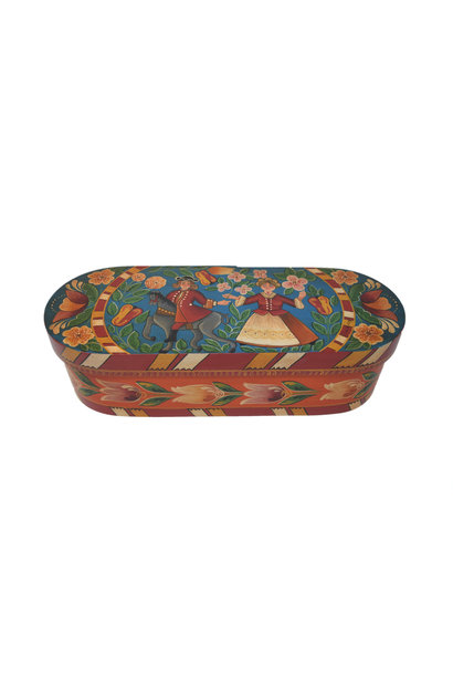 Oval Aqua/Orange Wedding Box