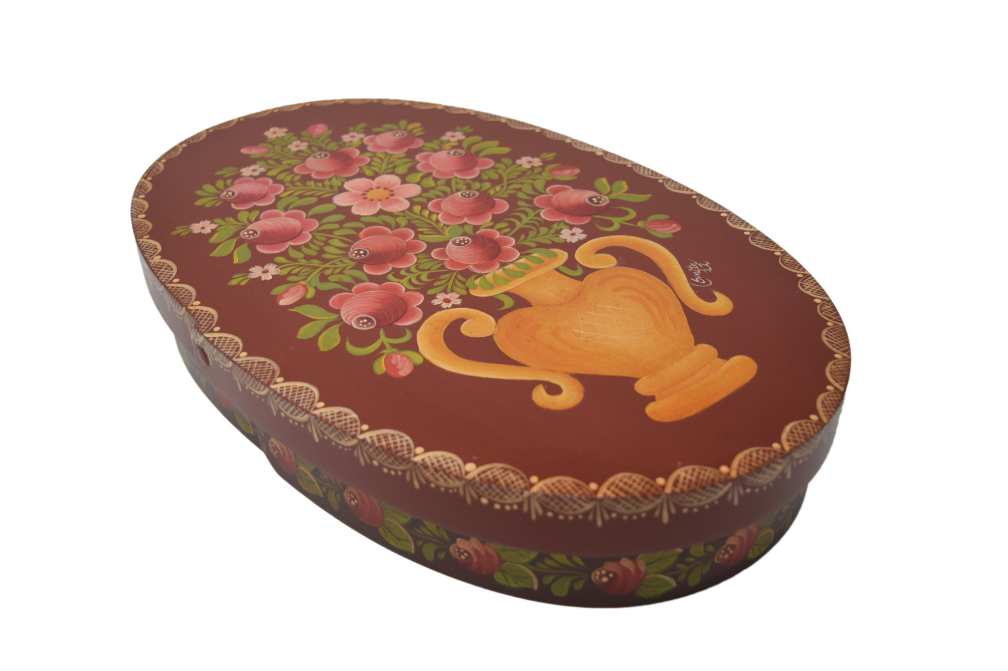 Oval Reddish Brown Box with Vase & Flowers-1