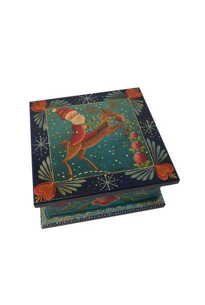 Square Dark Blue/Green Box with Santa