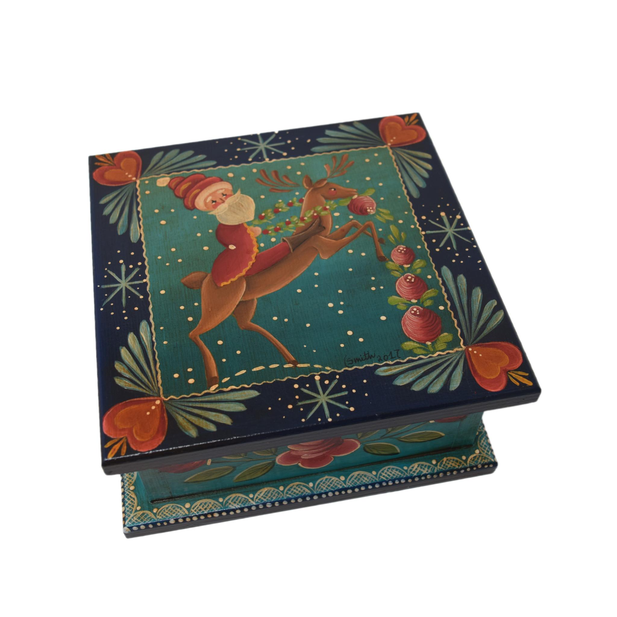Square Dark Blue/Green Box with Santa-1