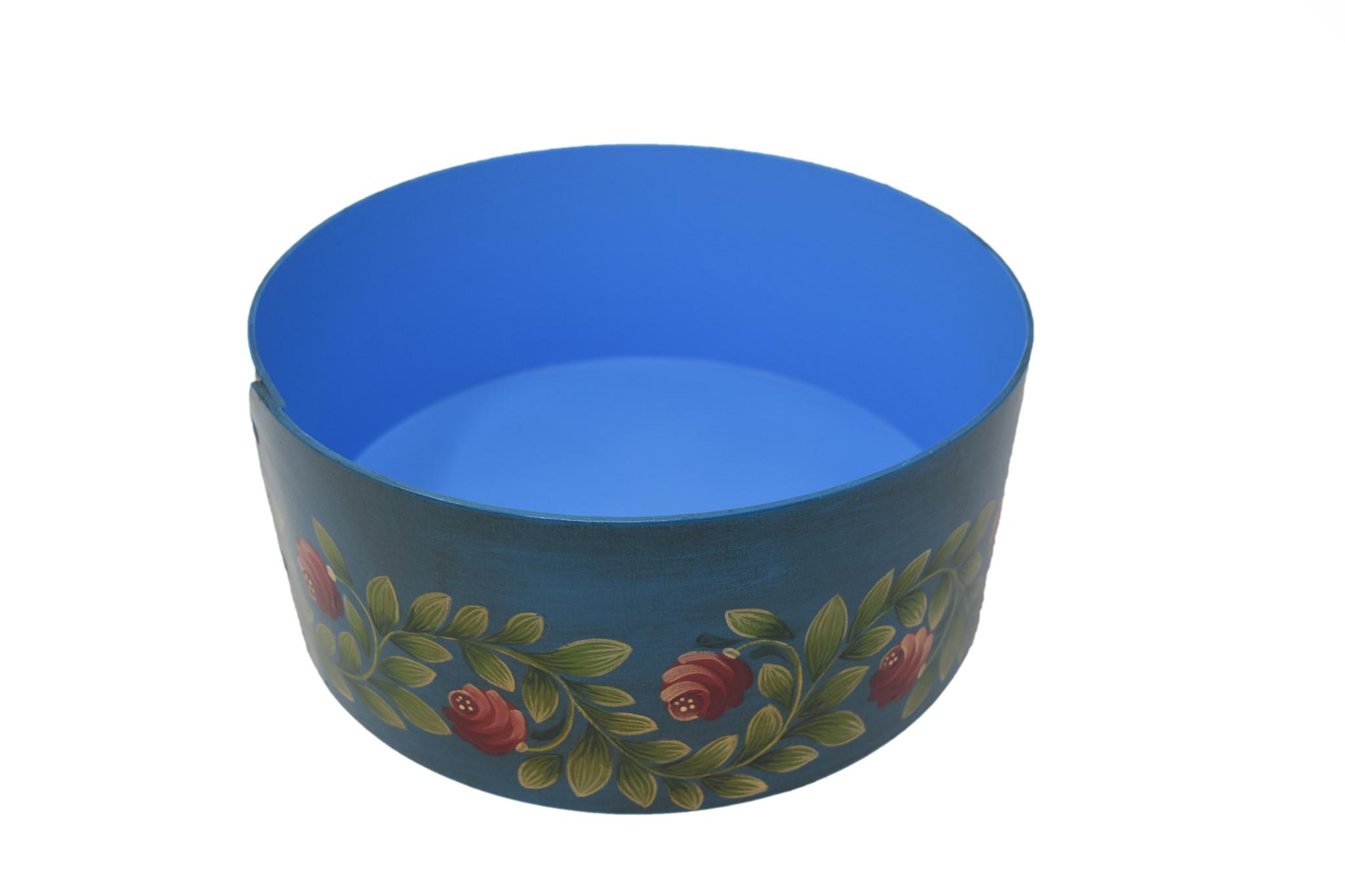 Round Box Dark Turquoise with Horn of Plenty-2