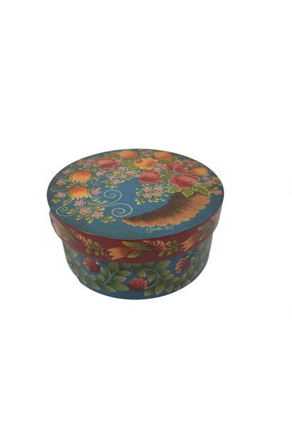 Round Box Dark Turquoise with Horn of Plenty