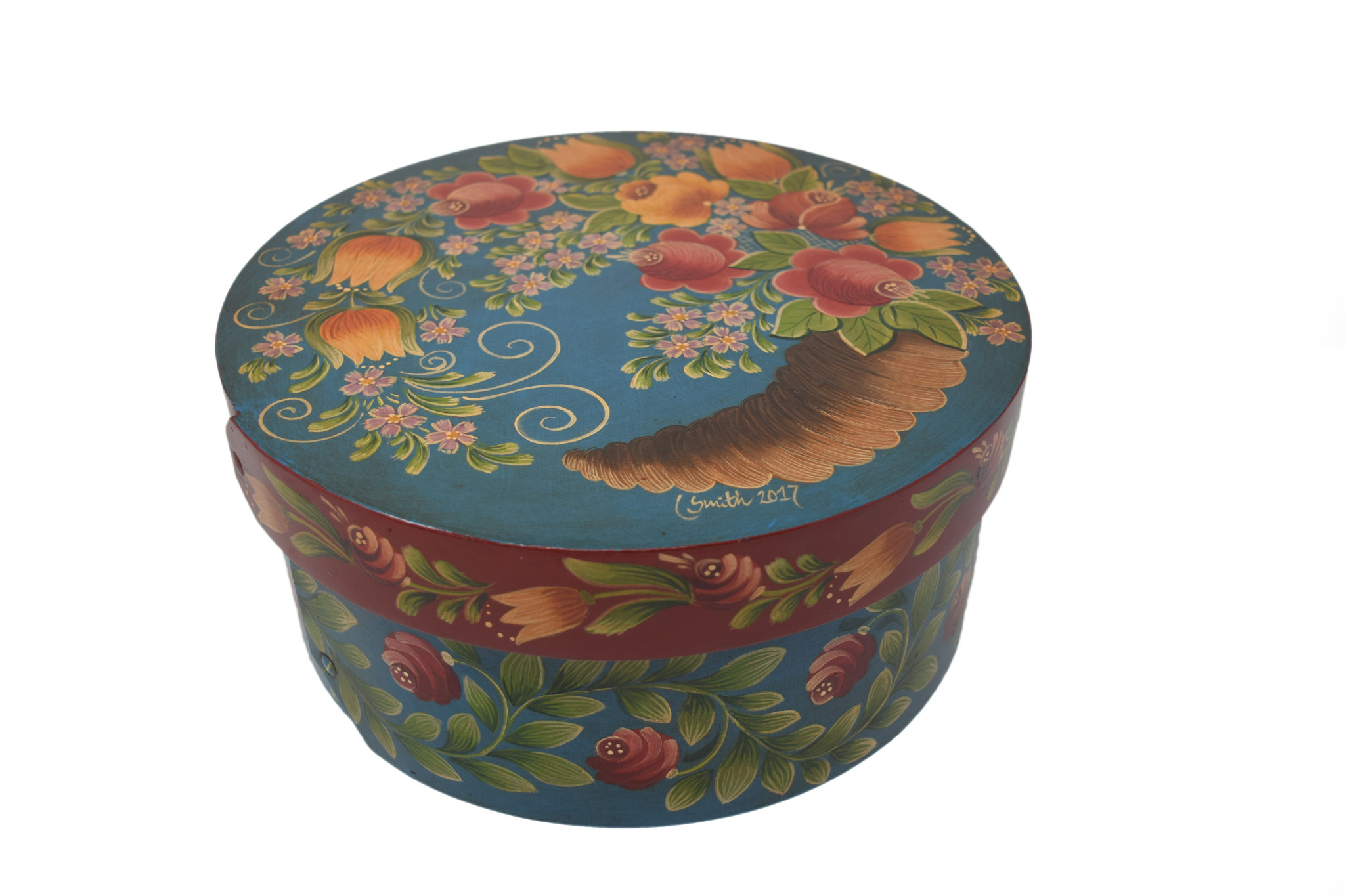 Round Box Dark Turquoise with Horn of Plenty-1