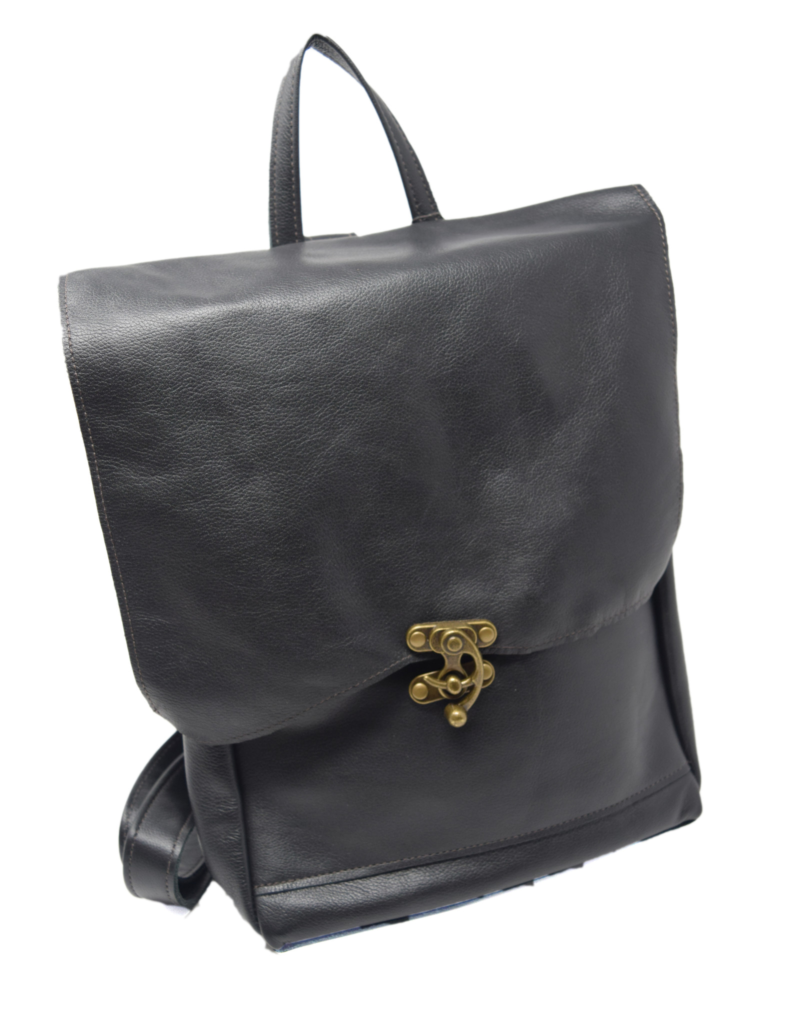 Small Leather Backpack Black-1