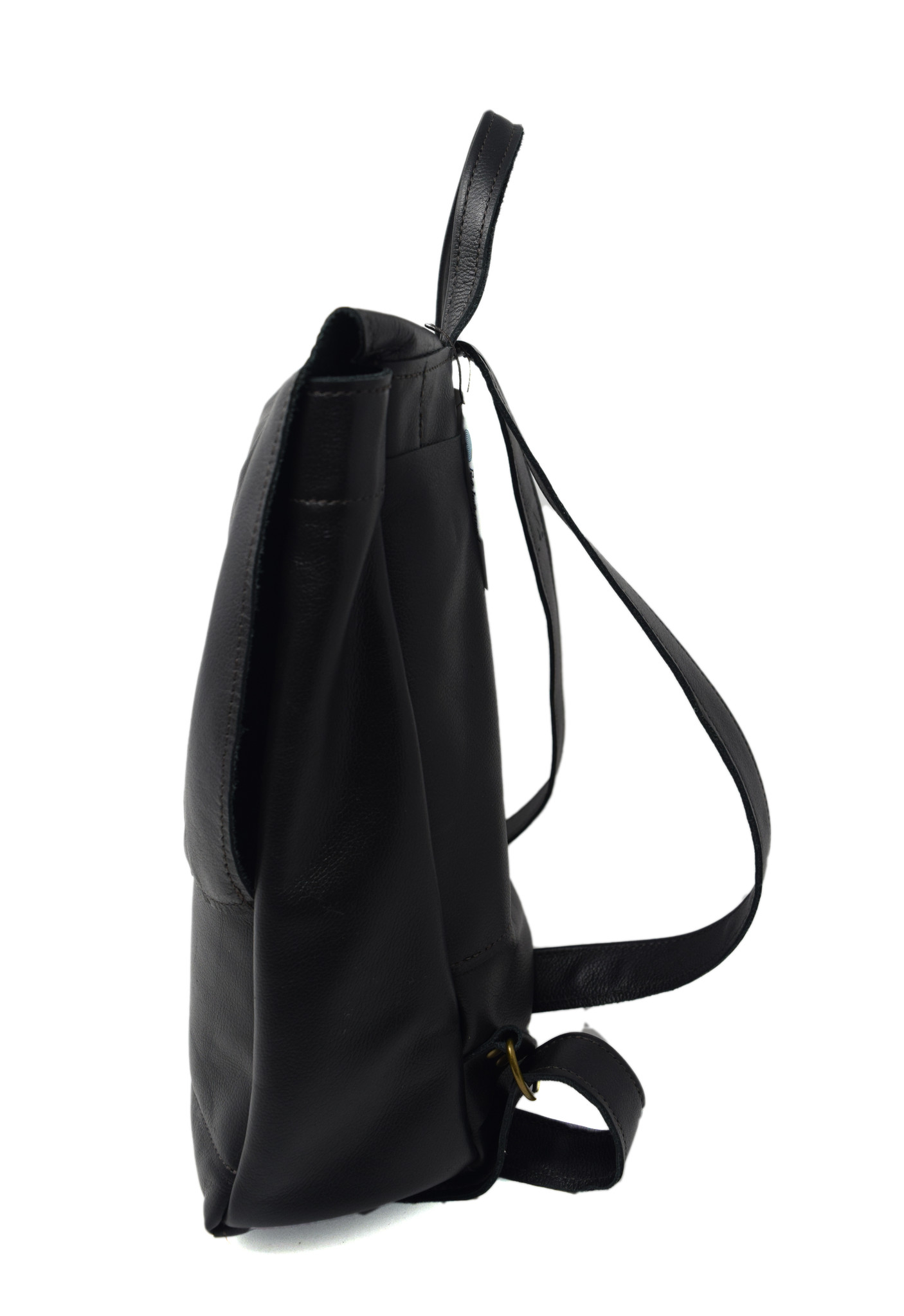Small Leather Backpack Black-3