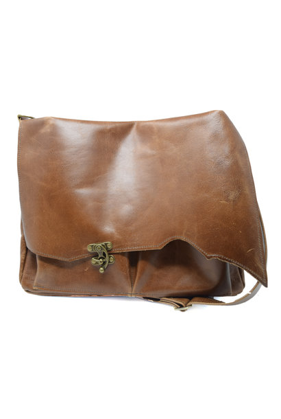 Leather Messenger Bag Light Burnt Sienna