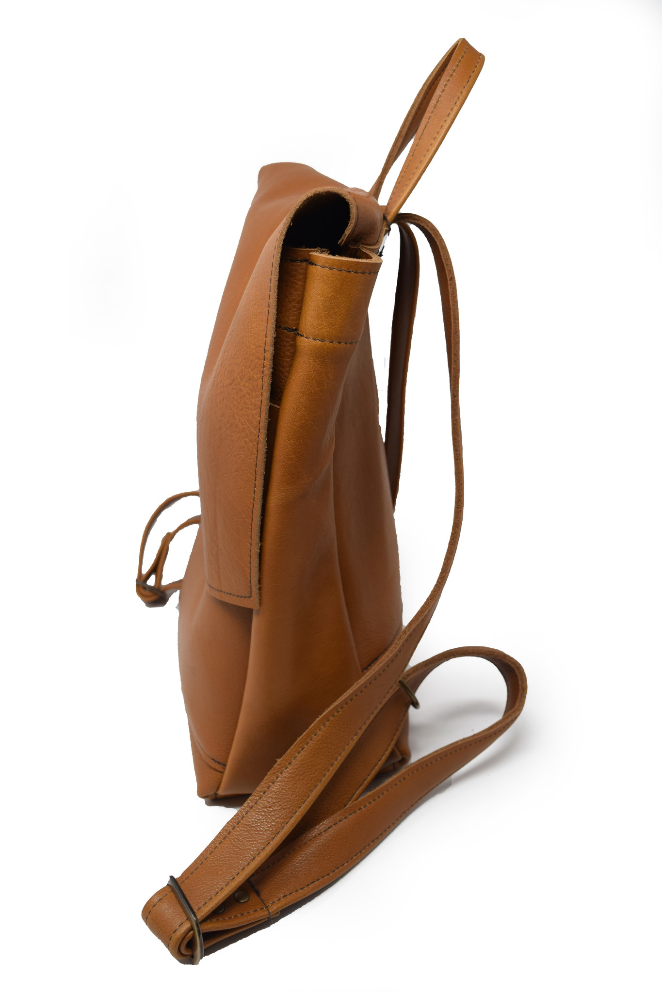 Small Leather Backpack Light Burnt Sienna-2