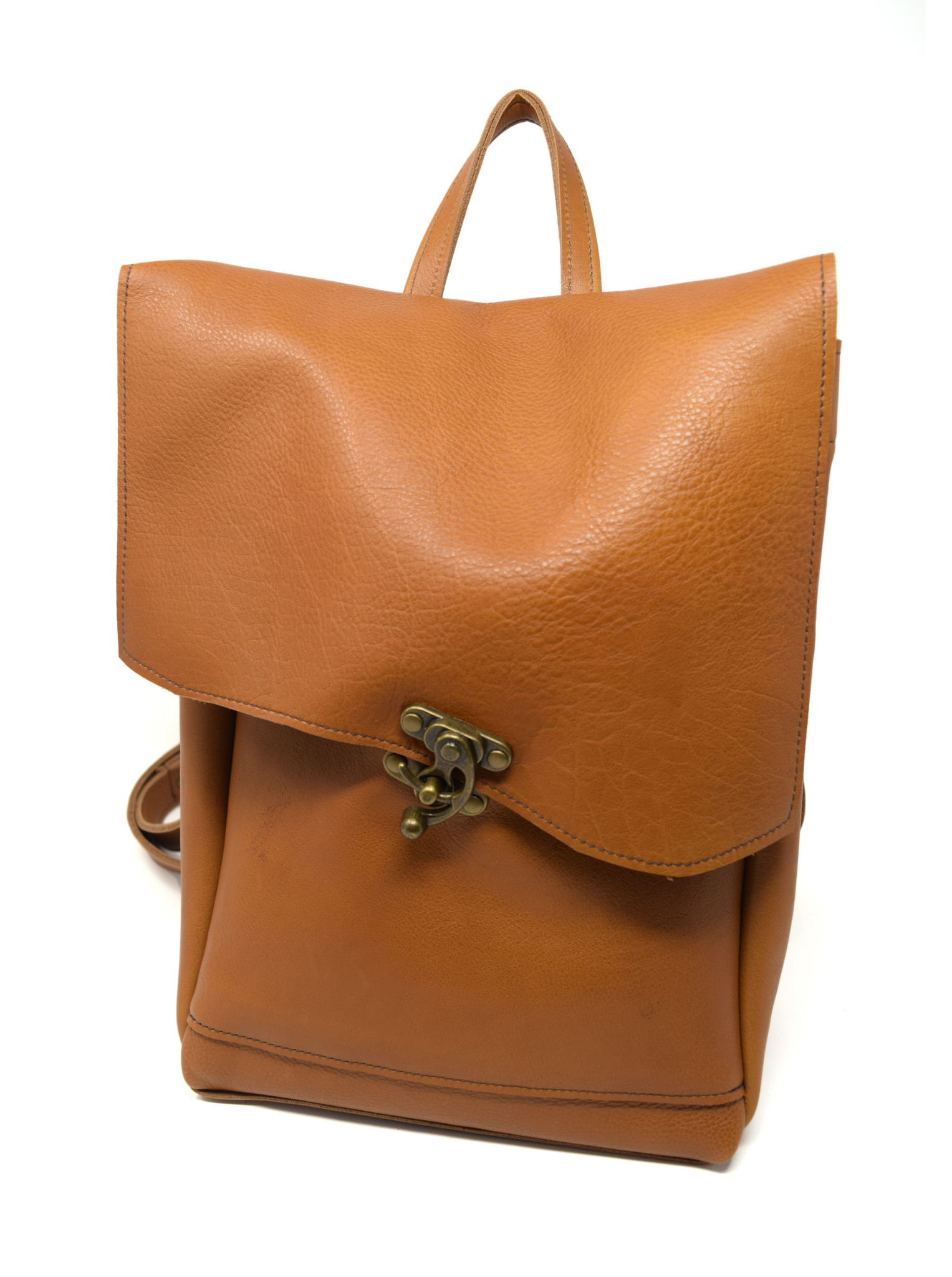 Small Leather Backpack Light Burnt Sienna-1