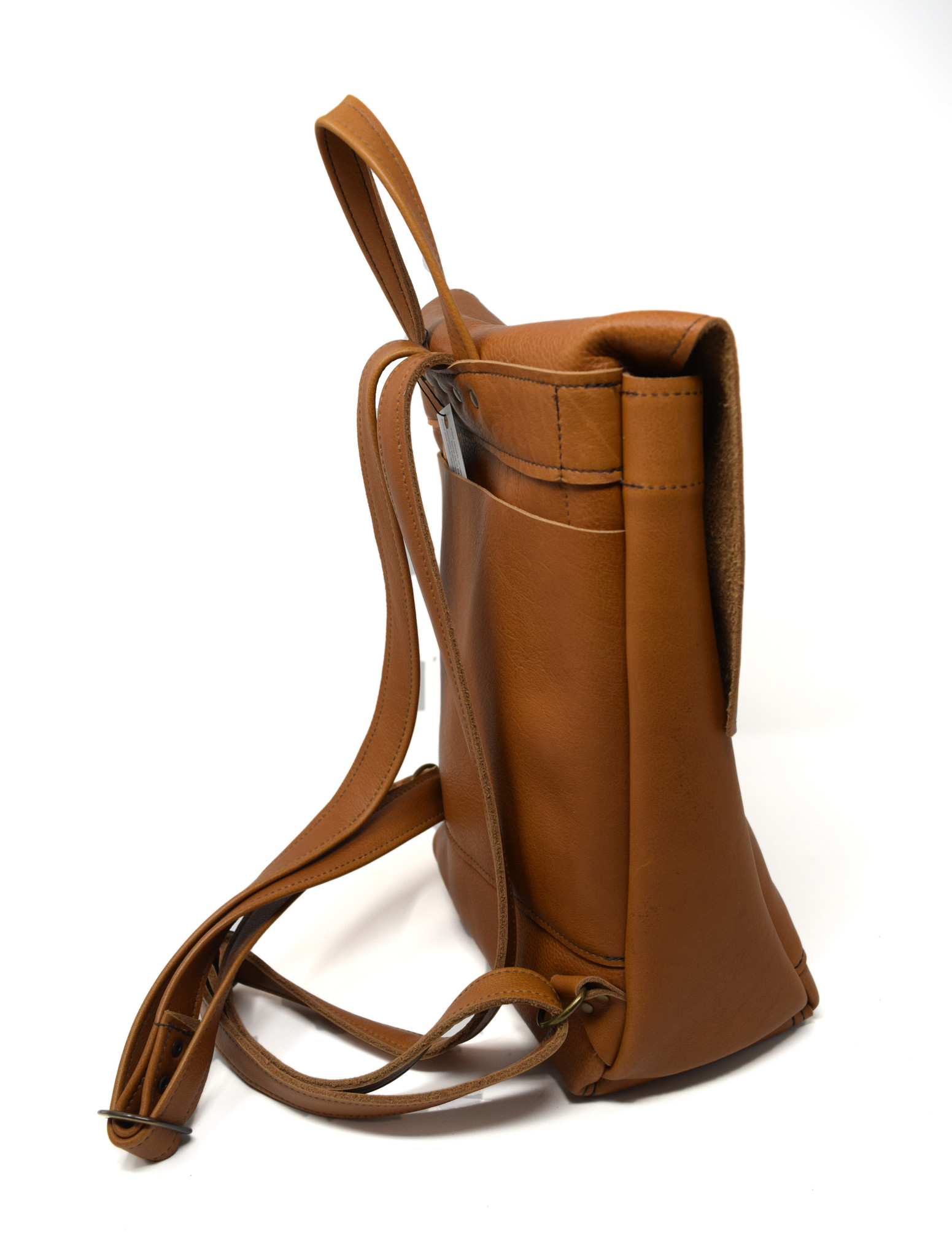 Small Leather Backpack Light Burnt Sienna-3