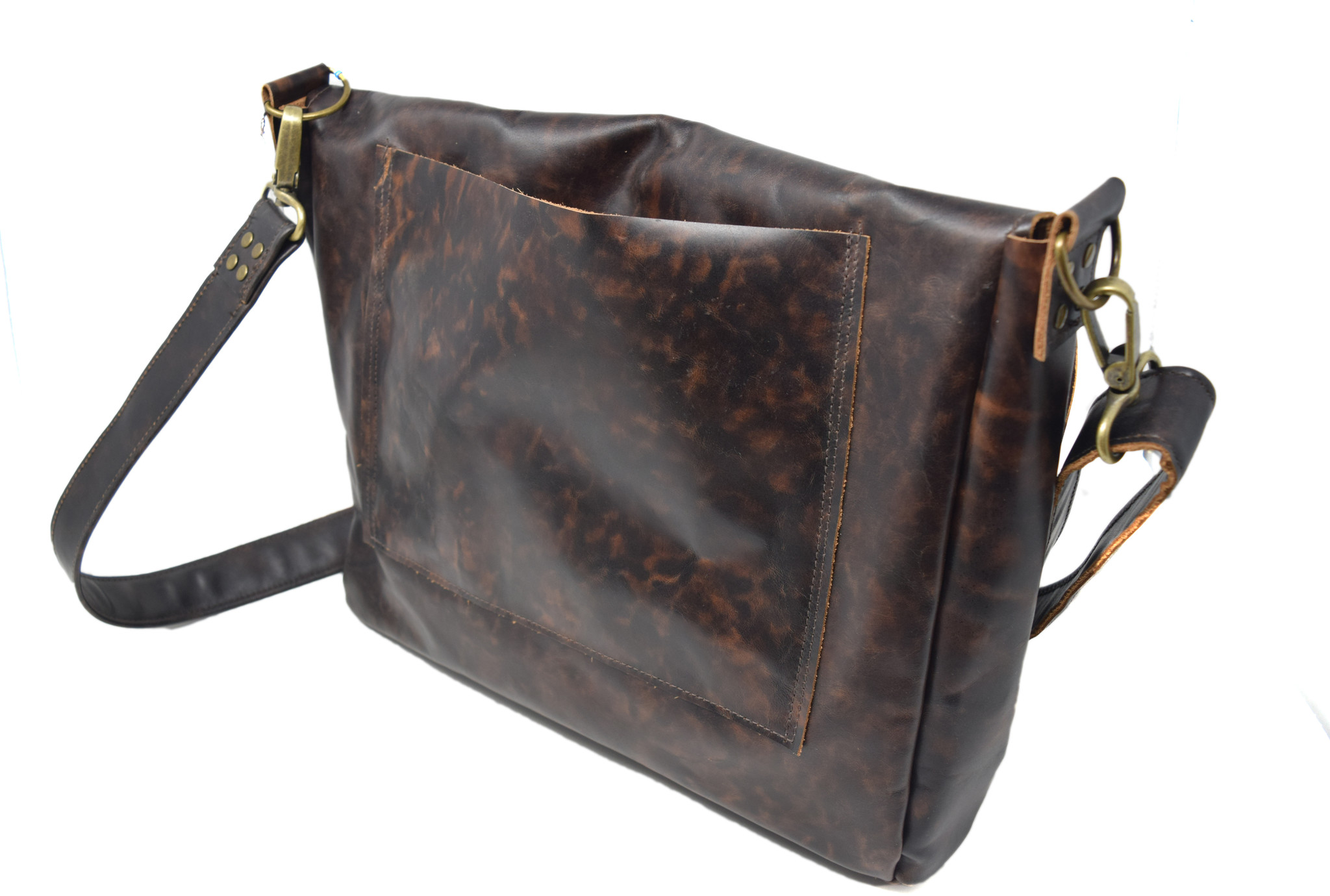Leather Messenger Bag Mottled Dark Brown-2