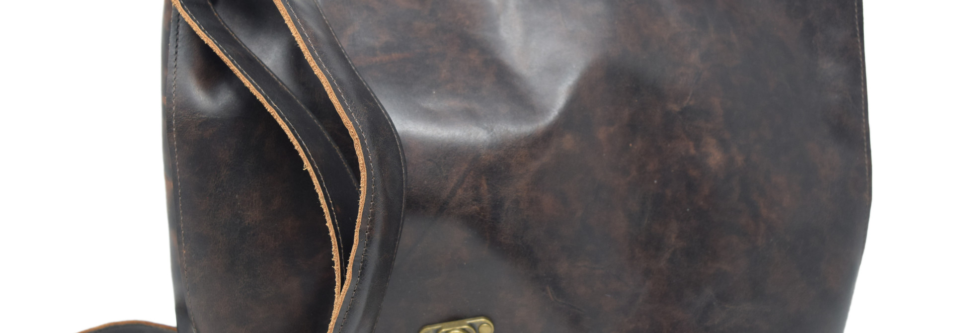 Leather Messenger Bag Mottled Dark Brown