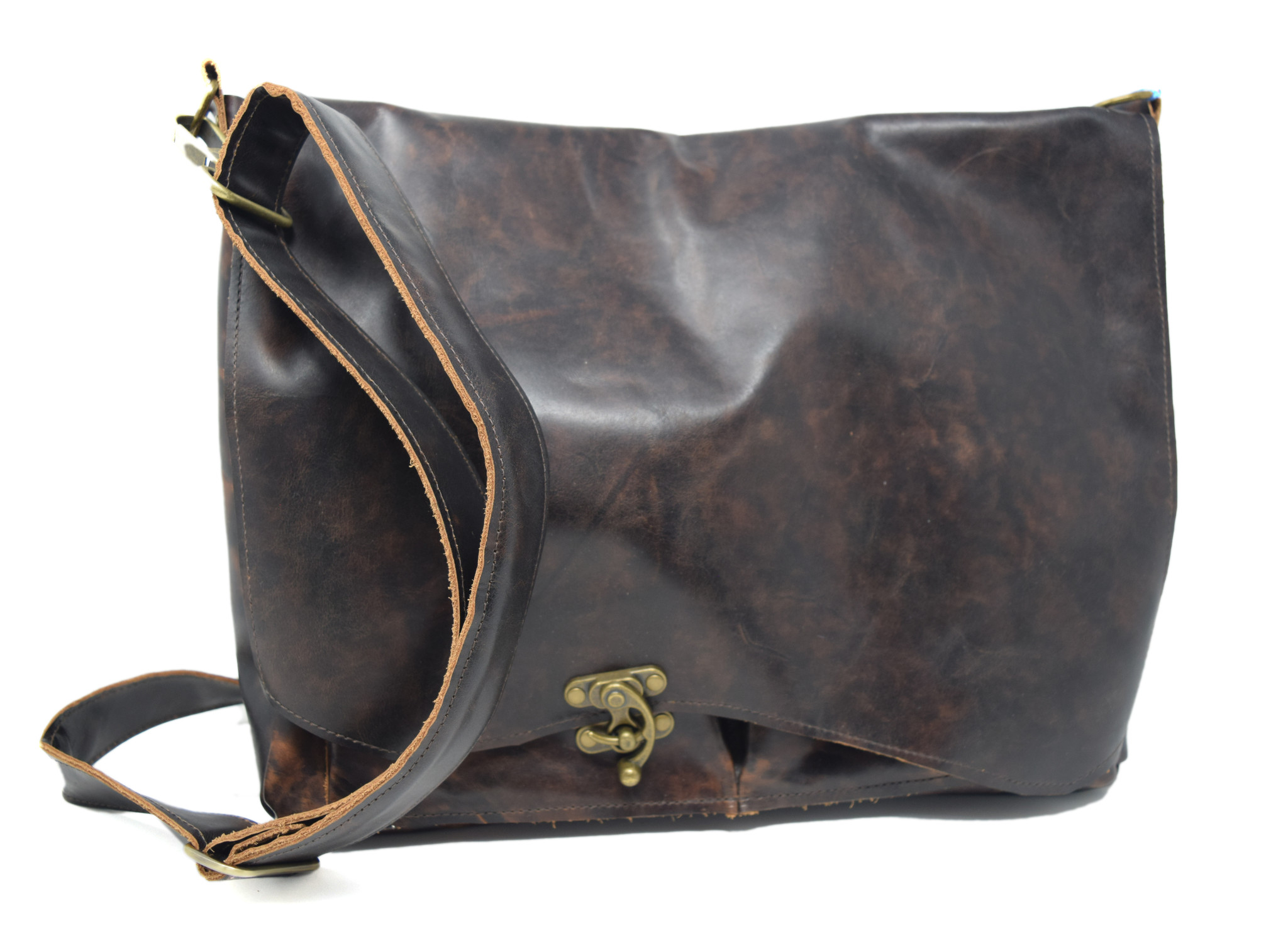 Leather Messenger Bag Mottled Dark Brown-1