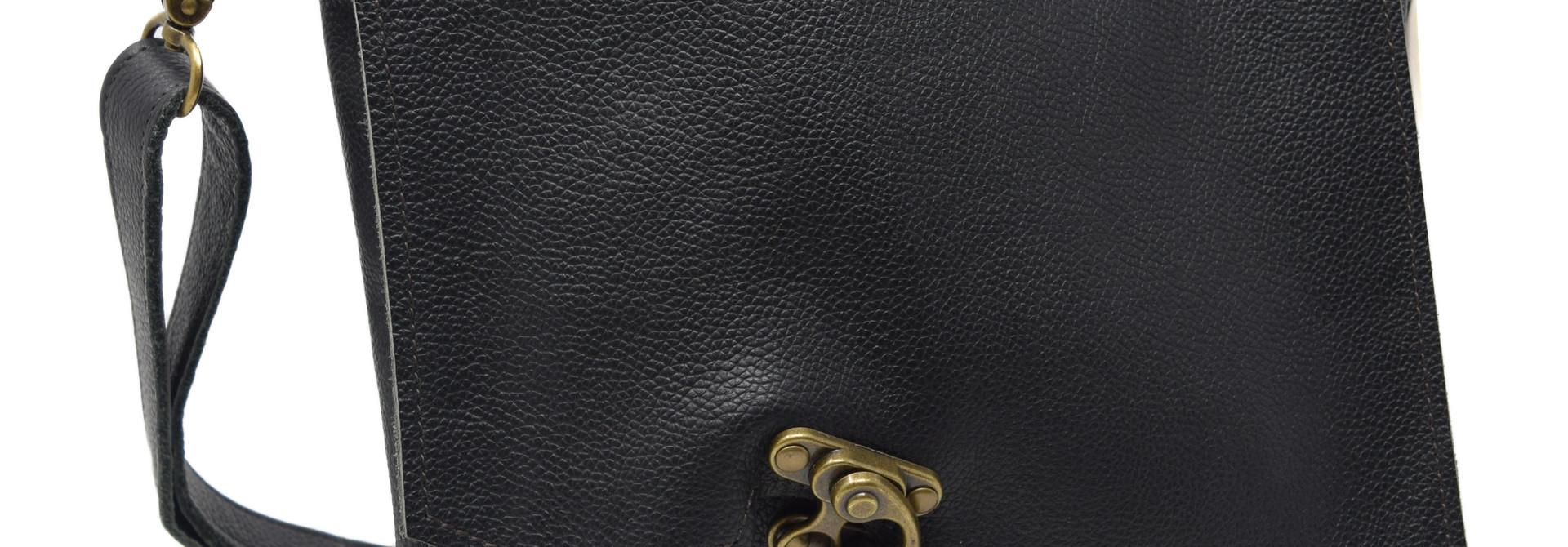 Leather Crossbody Black Textured